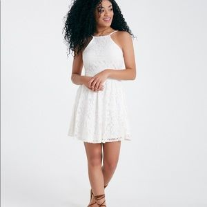 White Ivory High Neck Lace Skater Dress By WetSeal